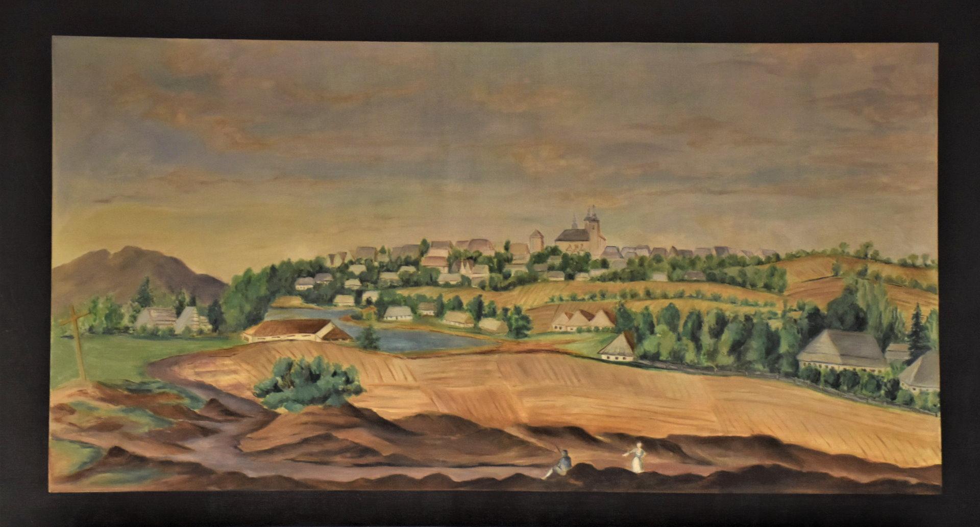 Kolorowy obraz olekny przedstawiający widok na miasto położone na wzgórzu. Nad miastem dominuje kościół z dwoma wieżami